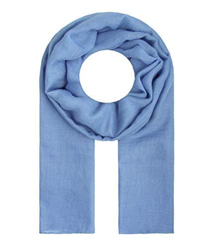 Majea Tuch Lima schmal geschnittenes Damen-Halstuch leicht uni einfarbig dünn unifarben Schal weich Sommerschal Übergangsschal (denim)