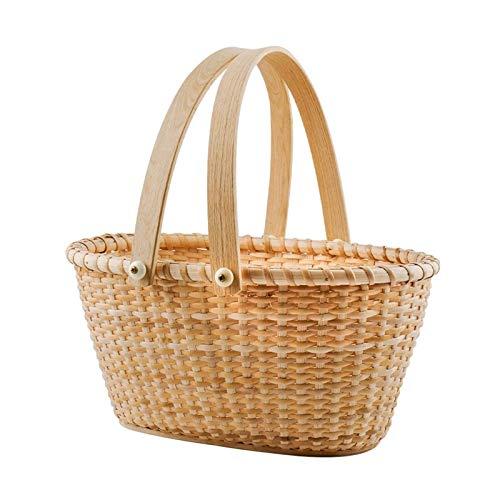 FHKBK Cesta de Picnic Ovalada Tejida a Mano, se Puede Utilizar para almacenar Juguetes, Comprar Verduras y Frutas, decoración de Muebles