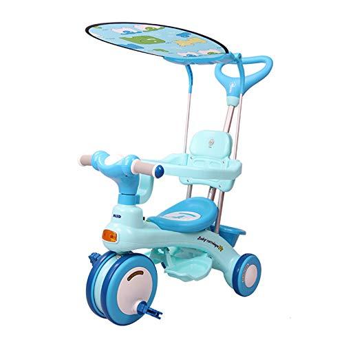 JHHXW Pedal para niños Triciclo de 3 Ruedas, Cochecito de bebé, versión Simple/versión de actualización (con toldo/caña de Barra/Canasta de Almacenamiento) (Color : Blue/Upgrade Style)