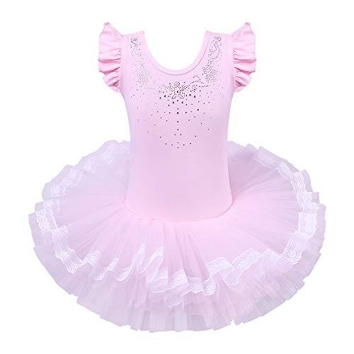 ZNYUNE Niña Tutu Vestido de Ballet Danza Clásico 094 Princesa Rosa XL para 5-6 años