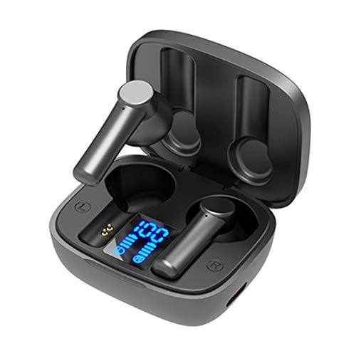 XJPB Auriculares Bluetooth Auriculares inalámbricos Fidelidad Premium Fidelity Sound Calidad de Carga Caja de Carga LED Digital Inteligencia mpermeable Incorporado Mic Auriculares para Deporte