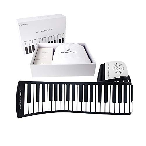 Roll up Piano Enya EHP-1W White Standard 88keys Portable Piano Keyboard Build in Loud Speaker,Rechargeable Battery,128 Tones and Rhythms for Children Beginners