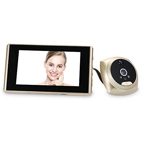OWSOO Mirilla Digital 1.3MP 4.3 Pulgadas Pantalla LCD a Color Soporte Detección de Movimiento PIR/Toma de Fotos/Grabación de Video Monitor de Video de Puerta para Seguridad de Hogar, Oro