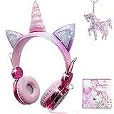 Auriculares Unicornio para Niña,Auriculares Oreja de Gato de 85dB Volumen Limitado con Mic para...