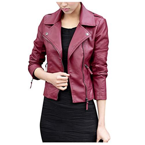 Ultramall Lederjacke für Damen, lässig, Lange Ärmel, Bestickt, mit Nieten, Reißverschluss, schmal schwarz, Motorradjacke, Damen, WineB, X-Large