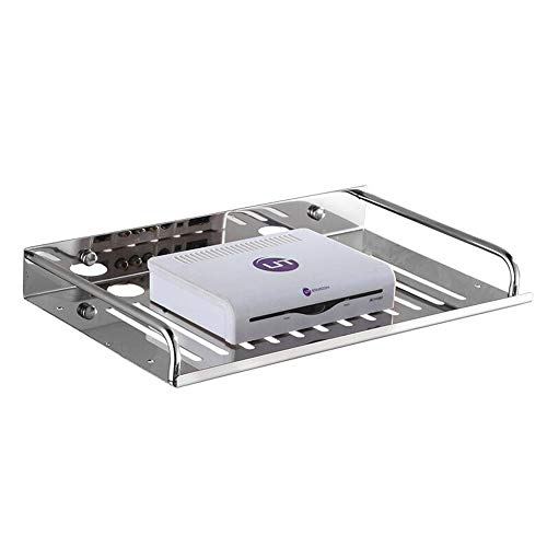 JCNFA-BOEKENPLANK Set Top Box Shelf muur bevestigde roestvrij stalen rek Router Beugel Multifunctionele snelle warmteafvoer (Color : Stainless steel)