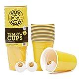 BeerBaller Yellow Cups | Beer Pong Set Incl. 25 Vasos Beer Pong Amarillo y 3 Pelotas Beer Pong | 473ml 16oz - ¡Tazas de Fiesta Americanas Originales!