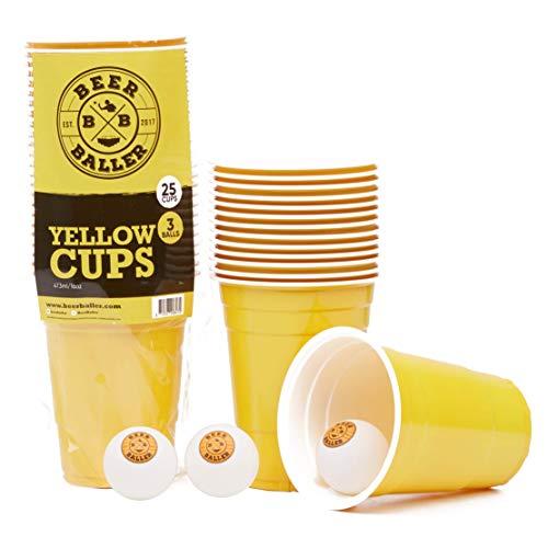 BeerBaller® YELLOW CUPS - 25 gelbe Beer-Pong Becher & 3 Bierpong Bälle | 473ml 16oz – original Retro American Party-Becher für eure Studentenparty, Festival und Beerpong Turniere