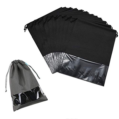 Schuhbeutel,10 Stück Schuhsack mit Transparentem Fenster und Kordelzug Reise Transparente Schuhtasche Set für Gym Sport Travel Zubehör