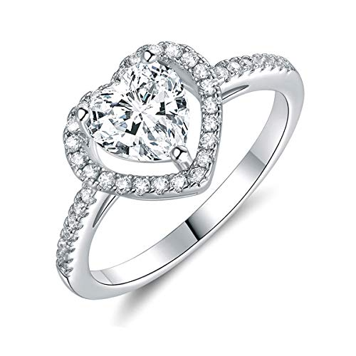 18K White Gold Plated Heart Cubic Zirconia Rings for Women Wedding Promise Engagement Size 5-10 (7)