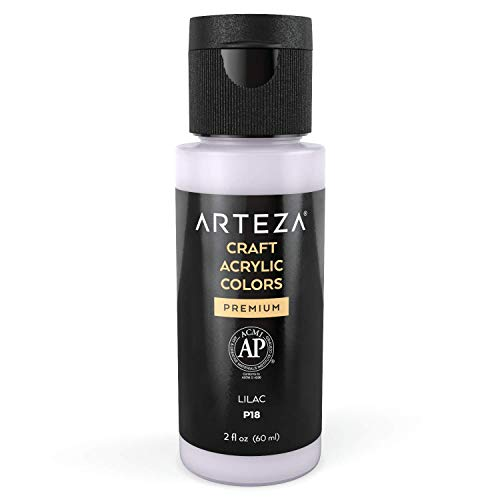 Arteza Craft Acrylic Paint P18 Lilac, 60 ml Bottle, Water-Based, Matte Finish, Blendable Paints for Art & DIY Outdoor Projects on Glass, Wood, Ceramics, Fabrics, Paper & Canvas