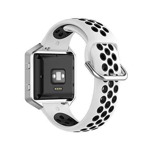 KINOEHOO Correas para relojes Compatible con Fitbit Versa/Versa 2/ Versa Lite/Blaze Pulseras de repuesto.Correas para relojesde siliCompatible cona.(blanco negro)