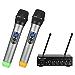 Fifine UHF Dual Channel Wireless Handheld Microphone, Easy-to-use Karaoke Wireless Microphone System-K036 (Renewed)