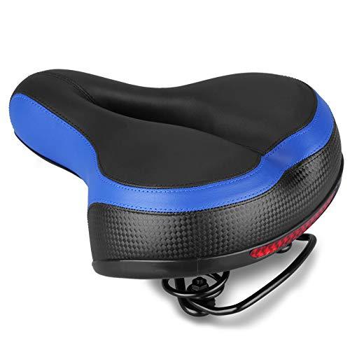 XBSJB Asiento De Bicicleta Sillín De Bicicleta De Cuero Acolchado con Espuma con Diseño Ergonómico Soft Comfort Apto para Bicicleta De Montaña,Azul