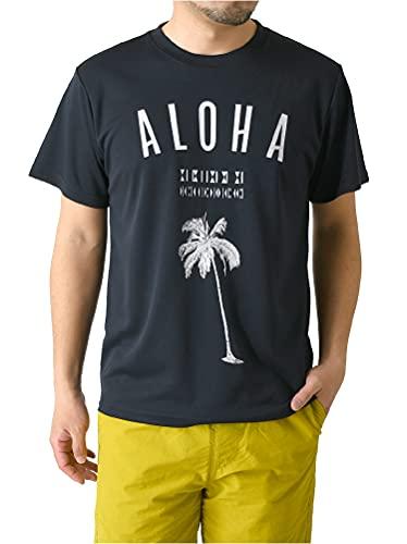 (リミテッドセレクト) LIMITED SELECT 半袖 tシャツ メンズ カットソー 吸汗 速乾 ドライ ストレッチ アメカジ ロゴ サーフ プリント スポーツ RQ0833C L P3-ネイビー
