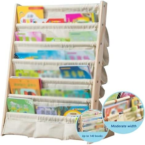 Color : A, Size : 60x30x79cm Sling Bookshelf XJJUN Kids Sling Bookcase,Wooden Childrens Bookshelf With Pocket Storage Book Rack,3 Colors 2 Sizes
