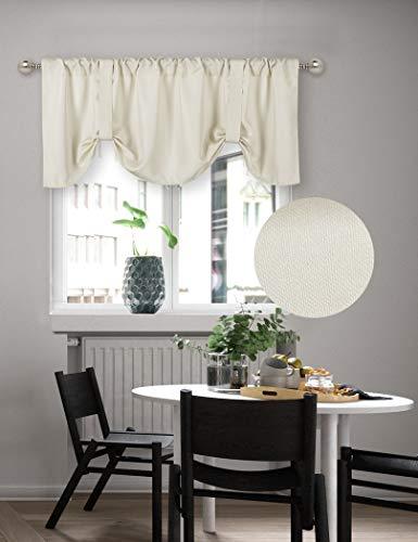 Home Queen Cenefa de cortina para ventana de sala de estar, ajustable con dobladillo para barra de globo, juego de 1, 137 x 50,8 cm,...