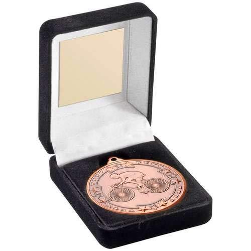 Womack Graphics JR47-TY65C - Scatola per medaglie e trofeo da ciclismo 50 mm, colore: Bronzo, 8,9 cm, con incisione gratuita fino a 50 lettere