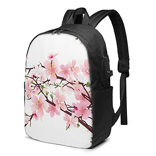 Tempting Cherry Blossoms - Mochila de viaje para portátil con puerto de carga USB para hombres y mujeres de 17 pulgadas, ver imagen, Talla única,