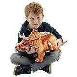 Sweety Toys 10844 Plüsch Dinosaurier 62 cm braun Triceratops -Dreihorngesicht -