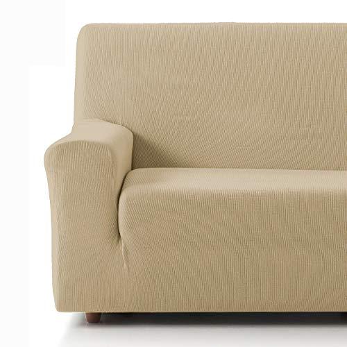 Eiffel Textile Funda Sofa Elastica Protector Adaptable Rústica Sofá 3 Plazas, 50% Poliéster, Beige
