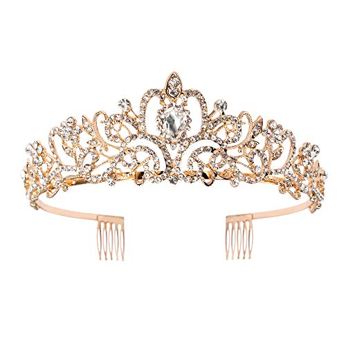 Didder Gold Crystal Tiara Crown Headband Princess Elegant Crown with combs for Women Girls Bridal Wedding Prom Birthday Party