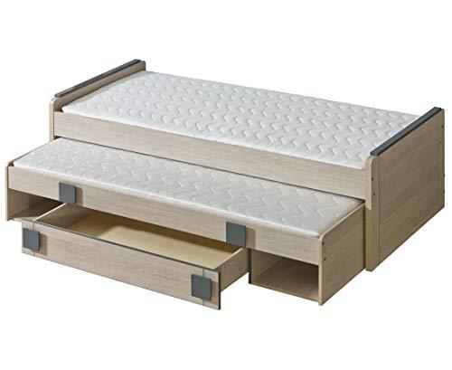 Furniture24 Bett Gumi G16 Jugendbett, Kinderbett, Ausziehbett mit Schaumstoffmatratze 195 x 80, Federkernmatratze 200 x 90 cm und Schublade (Santana Eiche/Achgrau)
