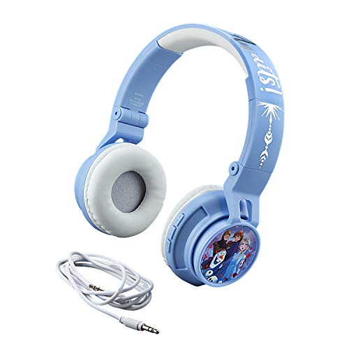 eKids Disney Frozen 2 Wireless Bluetooth Portable Kids Headphones with Microphone, Anna & Elsa Volume Reduced to Protect Hearing Stream Disney Plus, Adjustable Kids Headband for School Home Travel
