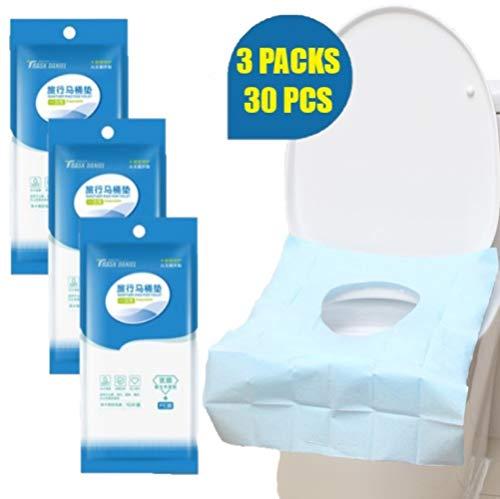 ALIXIN-Einwegpapier Sicher Antibakteriell Wasserdicht Toilettensitzbezüge Antimikrobiell Mütterlicherseits Toilettenmatte,Reisebedarf Büro Kindertöpfchen oder öffentliche Toilette(30 STÜCKE)