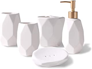 Jung Ford 5-Piece Ceramic Bathroom Counter Top Accessory Set - Dispenser for Liquid Soap or Lotion, Soap Dish, Toothbrush Holder and 2 Tumblers