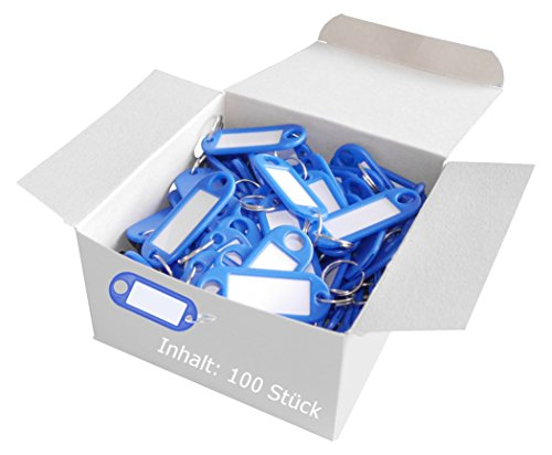 Wedo 262801803 Schlüsselanhänger Kunststoff (mit Ring, auswechselbare Etiketten) 100 Stück, blau