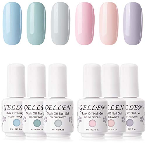 Gellen Gel Nail Polish Set - 6 Colors Pretty in Pastel Series - Soft Pastel Nail Art Colors Long Lasting Home Gel Manicure Kit