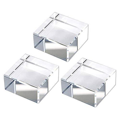 クリスタルガラス 透明 クリア ディスプレイ スタンド 展示台 3個セット ブロック キューブ 50x50x25mm NKTR-0290
