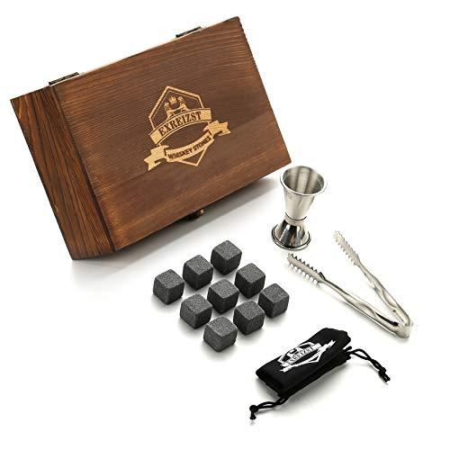 Caja de regalo de piedra de whisky | 9 whiskies de hielo reutilizables, equipados con pinzas para hielo, tazas medidoras y bolsas de almacenamiento, las bebidas congeladas no diluirán la bebid
