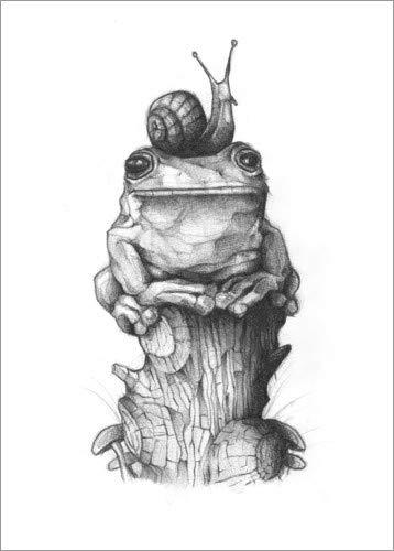 Posterlounge Acrylglasbild 30 x 40 cm: Der Frosch und die Schnecke, schwarz-weiß von Mike Koubou - Wandbild, Acryl Glasbild, Druck auf Acryl Glas Bild