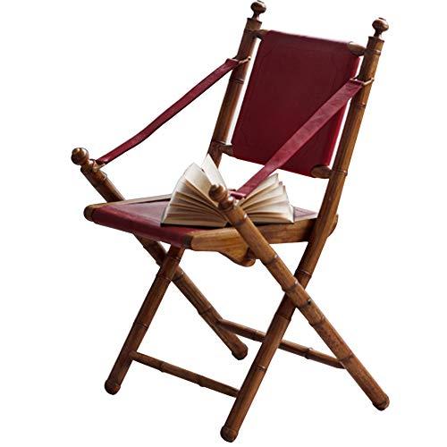 QZ-ICZY Luxus-Klappstuhl-Liegestuhl, Ledersitz Alle Massivholz-Single Country-Retro-Speisen-Tee-Shop Café-Karten-Sitzplatz-Sessel-Single-Balkon-Stuhl-Küchenstuhl,Rot