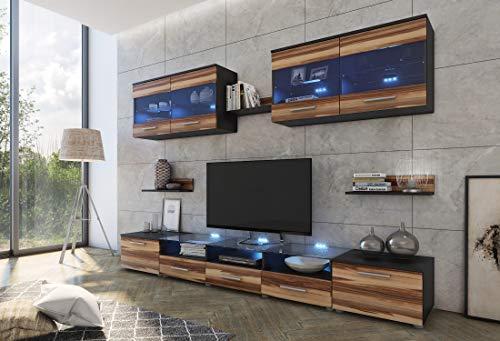 Furniture24 Wohnwand Cama I, Anbauwand, Lowboard, Hängevitrine, Mediawand, Modernes Wohnzimmer Set mit 2 Klapptüren, 4 Türen, 2 Schubladen und Blauer LED Beleuchtung (Wenge/Nußbaum Baltimore)