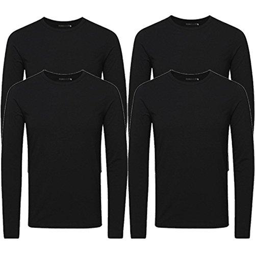 JACK & JONES Herren Langarmshirt 4er Pack Rundhals Basic LS Shirt Longsleeve Tee Core O-Neck S M L XL XXL (L, 4er Pack Schwarz)