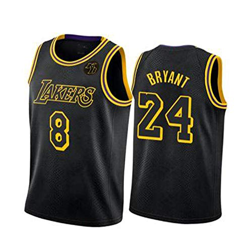 CLKJ Bryant Special Edition Basketball Jersey Lakers Black Mamba # 8+ # 24 Con KB Logo Jersey, Uomo Ricamo Moda Felpa Traspirante L