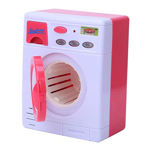 Tnfeeon Juguetes de Mini Lavadora, Lavadora automática de Limpieza Mini Juguete con luz y Sonido Juegos de simulación Casa de Juguete de Regalo para niños niñas(Rosado)