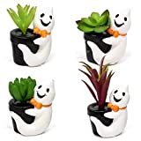 Gift Boutique Halloween Ghost Decorations, Set of 4 Succulent Plants Home Party Holiday Decor with Fall Accents, Cute Ghost Figurines Decoration for The Fireplace Mantle Shelf, Quality Resin Statues