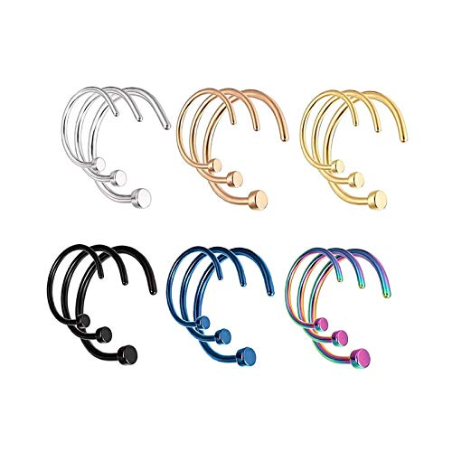 LEEQ 18 Pieces 20 G C Shape Nose Ring inless Steel Nose Hoops Body Piercing Jewelry for Men Women, 3 Sizes