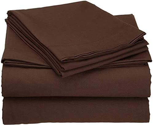 Queen Size Sheets 600-TC Egyptian Cotton – Sheet Set for Queen Size (60×80) Fits 7-9 Inches Deep Pocket (Solid, Chocolate)