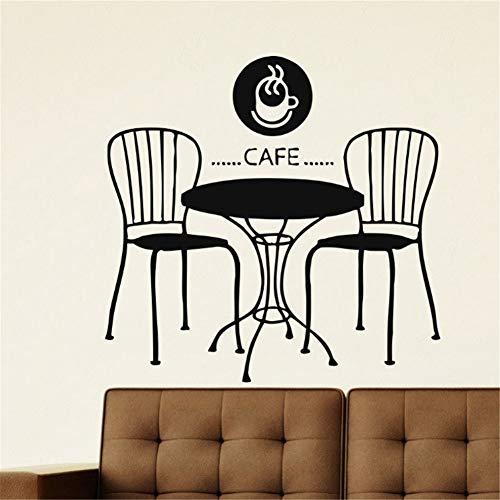 Tafel en stoel Muursticker Café Restaurant Achtergrond Decoratieve Muursticker Thuis Keuken Decor Vinyl Verwijderbaar Waterdicht 90x60cm