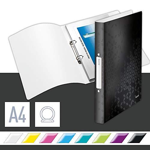 Leitz WOW Ringbuch für bis zu 190 Blatt, A4, 25 mm Rückenbreite, 2 D-Ring Mechanik, Schwarz, Kunststoff, WOW, 42570095