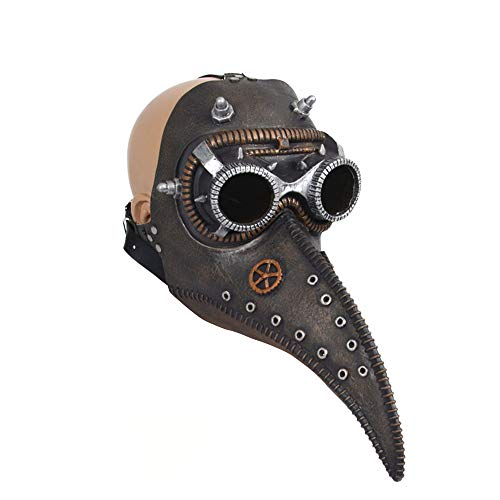 Plague Doctor Mask, SIENON Plague Doctor Bird Mask, Long Nose Beak Cosplay Steampunk Halloween Costume Props Festival Parties for Kids and Adults (Black)