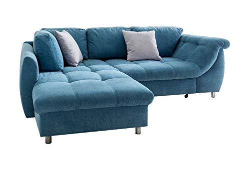 lifestyle4living Ecksofa mit Schlaffunktion in Blau mit großen Rücken-Kissen und Zierkissen, Microfaser-Stoff | Gemütliches L-Sofa mit Longchair im modernen Look