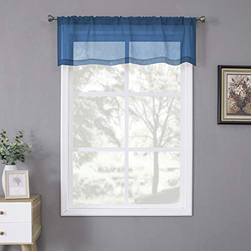 Tollpiz Sheer Valance Linen Textured Bedroom Valance Curtains Sheer Light Filtering Rod Pocket Voile Curtain Valances for Living Room, 54 x 16 inches Long, Classic Blue, Set of 1 Panel