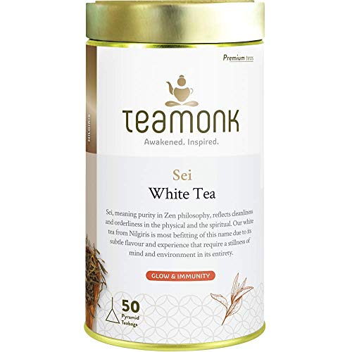 Teamonk Sei Premium High Mountain White Tea Bags - 50 Tea Bags | 100% Natural Tea | Powerful Antioxidant Tea | Tea for Glowing Skin | Immunity Boosting Tea | No Additives