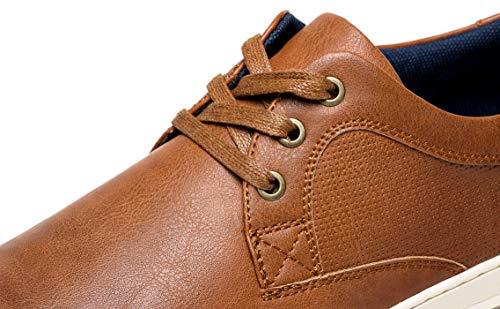 JOUSEN Men's Casual Shoes Memory Foam Mens Fashion Sneakers 3 Eyelets Business Dress Sneaker (A81Q06 Yellow Brown 9.5)